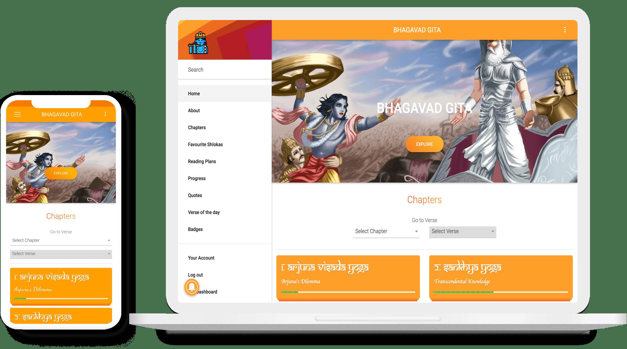 Best Bhagavad Gita App! Download the Gita App now - 100